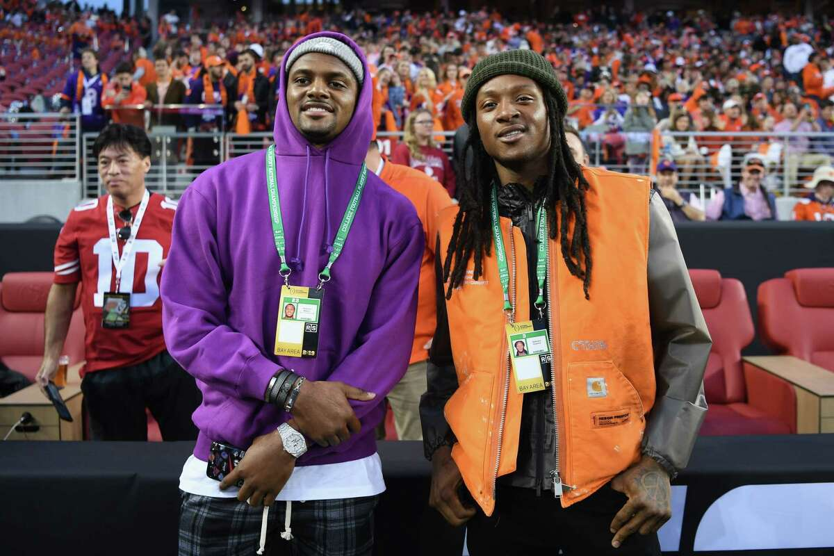 Deshaun Watson and DeAndre Hopkins of the Houston Texans look on prior to the CFP National Championship between the Alabama Crimson Tide and the Clemson Tigers presented by AT&T at Levi's Stadium on January 7, 2019 in Santa Clara, California.
