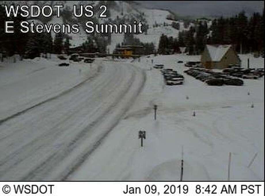 Snow covered Stevens Pass Wednesday morning. Photo: Courtesy WSDOT