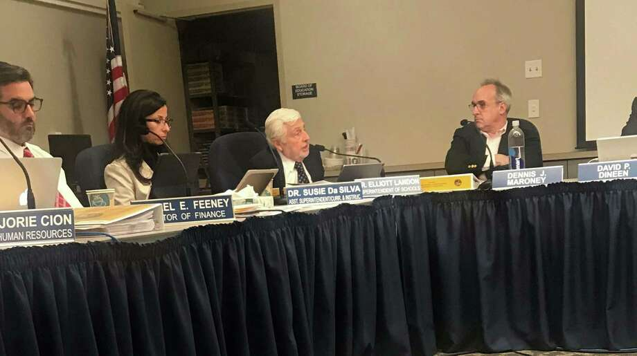 Interim Superintendent Elliott Landon and the Board of Education continued their discussions of the budget at their meeting on Jan. 8. Photo: Lynandro Simmons /Hearst Connecticut Media