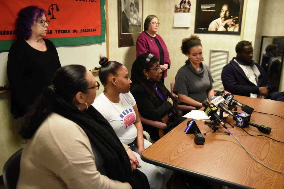 Alice Green, executive director of the Center for Law and Justice, center, speaks during a press conference to discuss the handling of the Ellazar Williams case on Wednesday, Jan. 9, 2019, at the Center for Law and Justice in Albany, N.Y. (Will Waldron/Times Union) Photo: Will Waldron, Albany Times Union / 40045887A