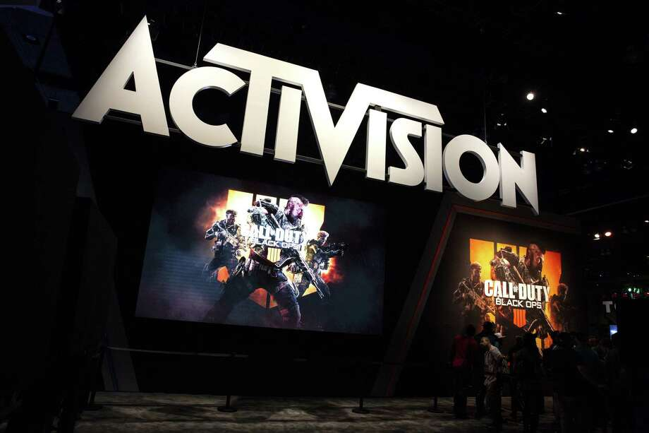 Activision Blizzard signage features its Call Of Duty: Black Ops 4 video game during the E3 Electronic Entertainment Expo in Los Angeles in June. Photo: Bloomberg Photo By Troy Harvey / Bloomberg