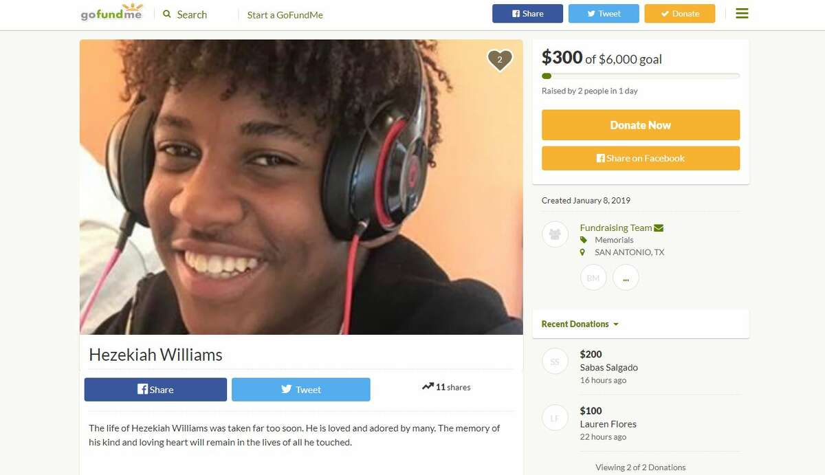 Hezekiah Jaeden Williams, 19, was mortally wounded by a gunshot wound to his head at about 8:30 p.m. in the 7800 block of Mesquite Farm as he dropped two teenage girls off at a home in the area.
