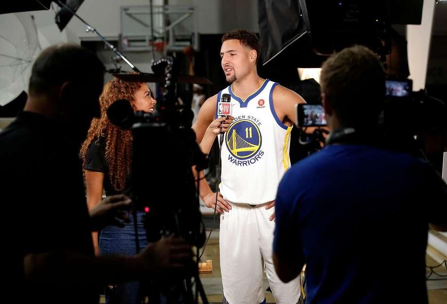 "The Warriors' Klay Thompson still isn't fond of cameras and microphones, but he can produce memorable quotes. Thompson said, ""I never have"" gotten over the shyness of his youth. Photo: Michael Macor / The Chronicle 2017"