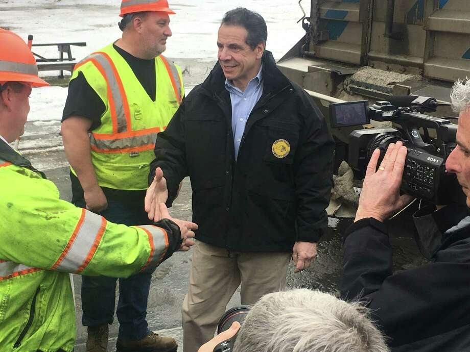 Gov. Andrew Cuomo greets state DOT workers in Hudson Falls on Wednesday, Jan. 9, 2019. Cuomo was there to talk about an expected snow storm  predicted to hit upstate, especially the North Country, in the coming days. He also spoke about the Oct. 6 limo crash in Schoharie County that killed 20 people. Photo: By Larry Rulison