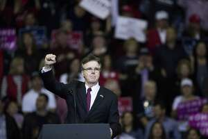 Lieutenant Governor Dan Patrick talks to the crowd during a MAGA Rally, Monday, Oct. 22, 2018, in Houston.