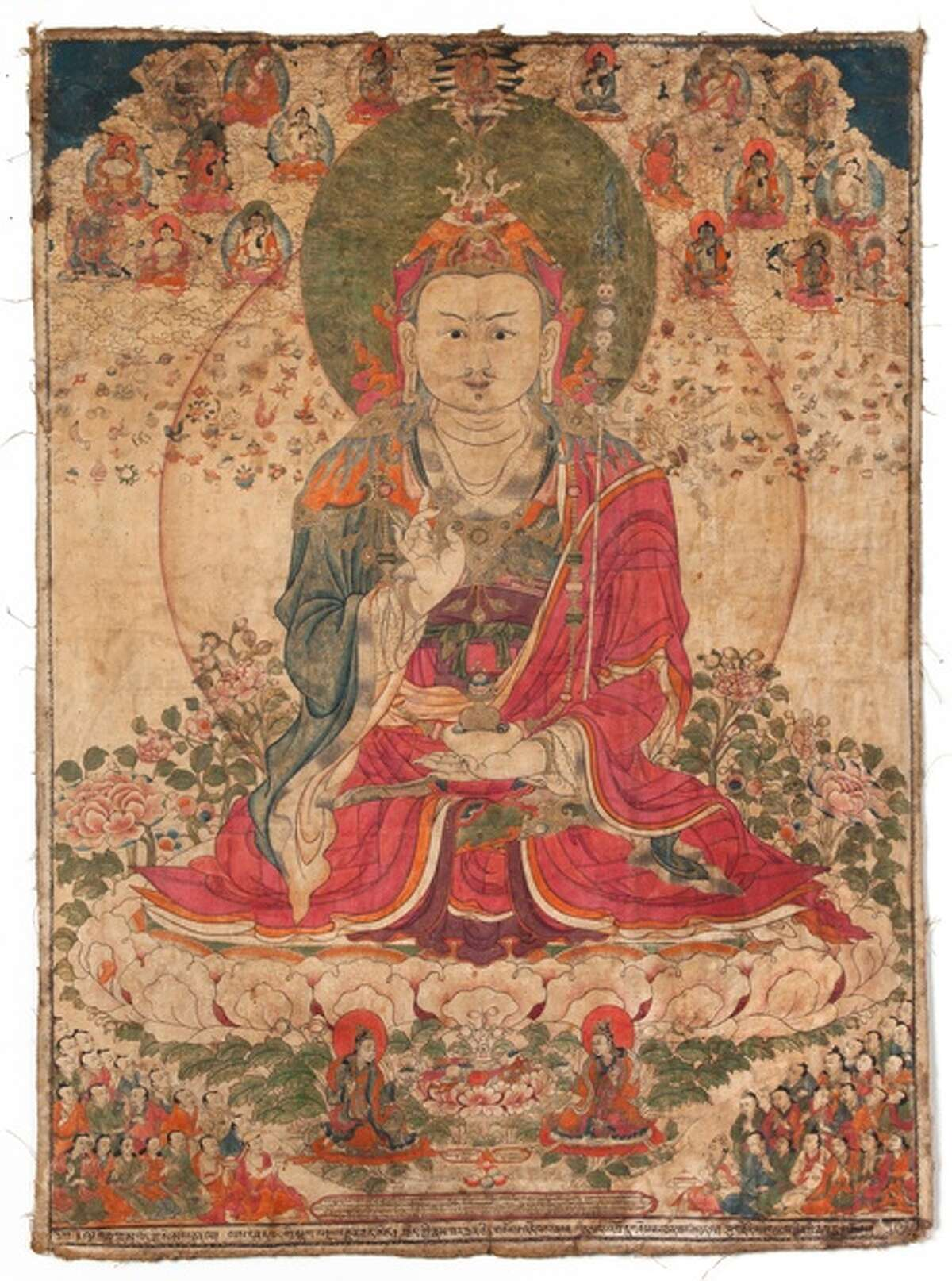"""Artist unknown (Tibet), """"Padmasambhava,"""" 19th century, pigment on cloth, 28 1/4 x 20 inches, image courtesy of the Ruben Museum of Art (from tang.skidmore.edu)"""