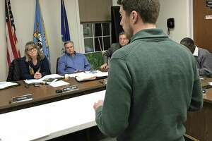 Jeremy DeCarli, East Hampton Planning and Zoning official, addresses Town Council members Tuesday night.