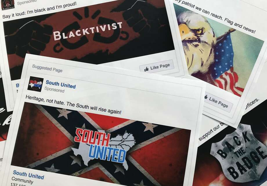 Prints of some of the Facebook ads linked to a Russian effort to disrupt the American political process and stir up tensions around divisive social issues, released by members of the U.S. House Intelligence Committee. Photo: Jon Elswick / Associated Press 2017
