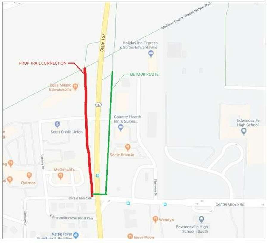 The city of Edwardsville, in cooperation with the Madison County Transit Agency, has proposed to build a trail connecting the MCT Nature Trail on the west side of the underpass at Route 157 to the intersection of Center Grove Road and Route 157. Pictured is a depiction of the proposed trail connector and detour route. Photo: Courtesy Of City Of Edwardsville Website