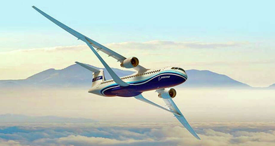 Boeing's new passenger jet design has trusses to hold up its wide, foldable wings. Photo: Boeing