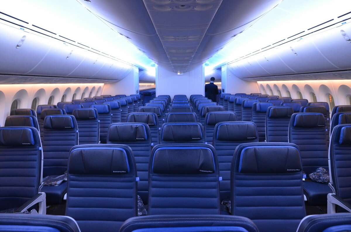 This is the Economy Plus and Economy cabin on the United Airlines Boeing 787-10 Dreamliner- configured 3-3-3