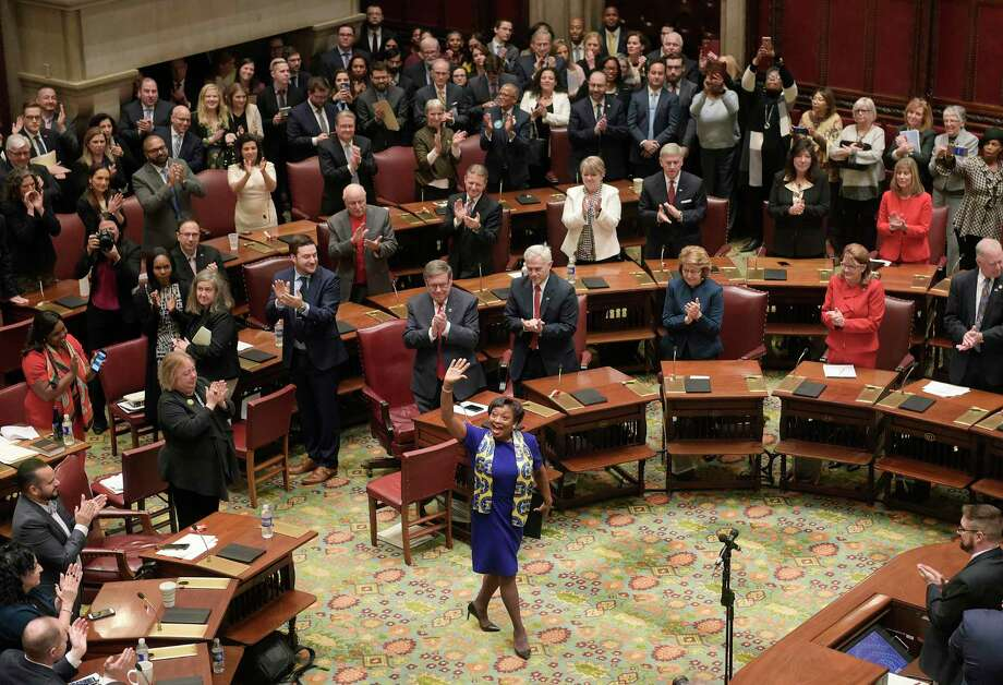 Newly elected Senate Majority Leader, Andrea Stewart-Cousins, waves to supporters in the gallery just after being elected during the start of the legislative session on Wednesday, Jan. 9, 2019, in Albany, N.Y.  (Paul Buckowski/Times Union) Photo: Paul Buckowski, Albany Times Union / (Paul Buckowski/Times Union)