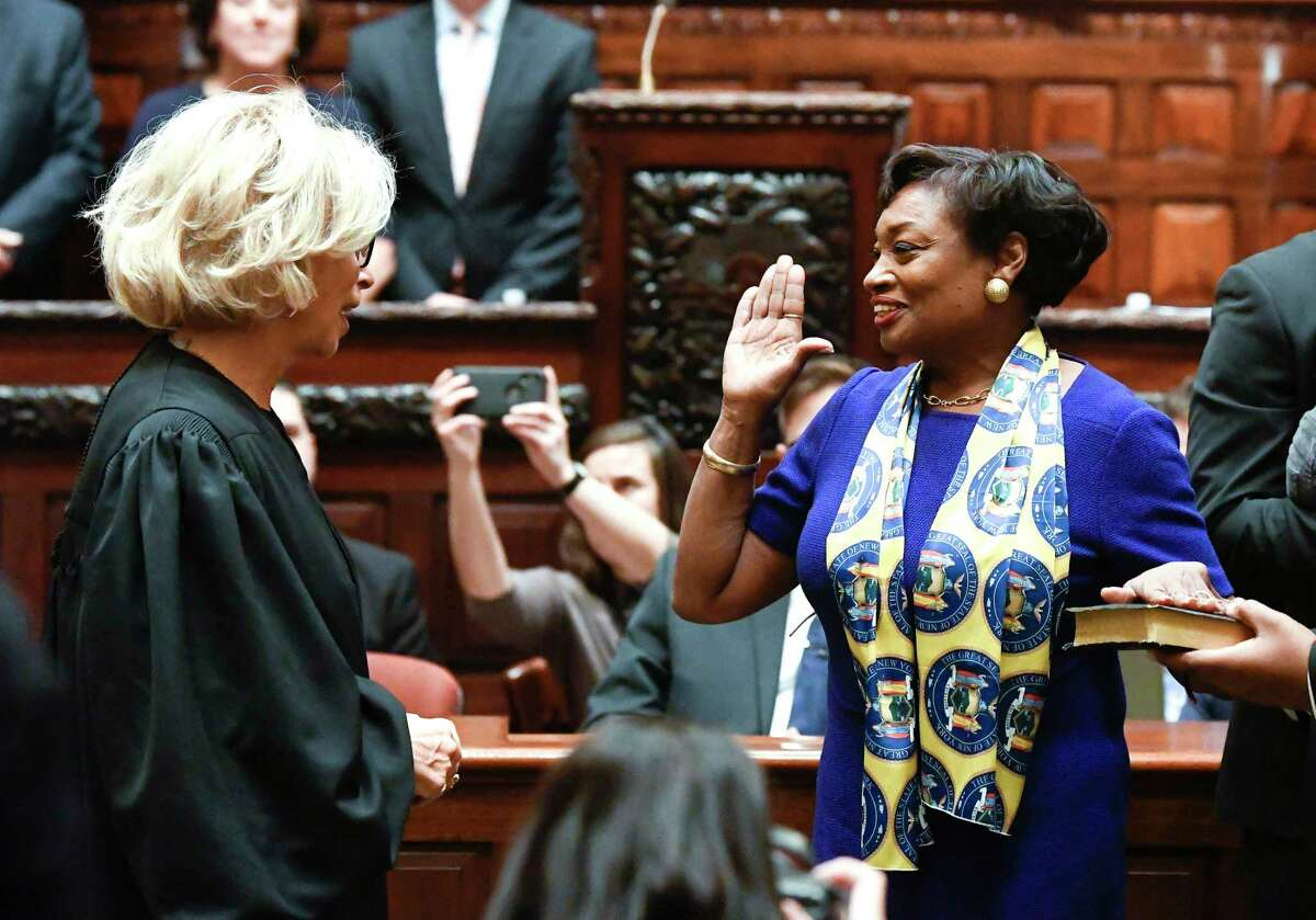 New York Court of Appeals Chief Judge Janet DiFiore, left, administers the Oath of Office to Senate Majority Leader Andrea Stewart-Cousins, D-Yonkers, during opening day of the 2019 legislative session in the Senate Chamber of the Capitol, Wednesday, Jan. 9, 2019, in Albany, N.Y.
