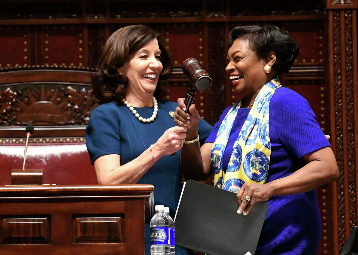 New York Lt. Gov Kathy Hochul, left, gives the Senate gavel to Senate Majority Leader Andrea Stewart-Cousins, D-Yonkers, as she speaks to members of the state Senate during opening day of the 2019 legislative session in the Senate Chamber of the Capitol, Wednesday, Jan. 9, 2019, in Albany, N.Y.