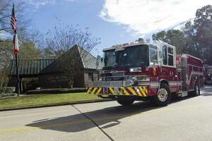 A firetruck with Station 1 leaves on a call, Thursday, Jan. 9, 2018, in Conroe. The Conroe Fire Department has begun phasing in an additional fourth firefighter per truck as part of the department's effort to increase personnel that began January 1.