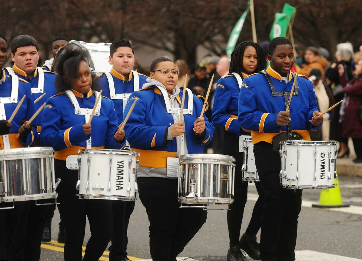 The Harding High School marching band participates in the governor's inaugural parade in Hartford, Conn. on Wednesday, January 9, 2019.