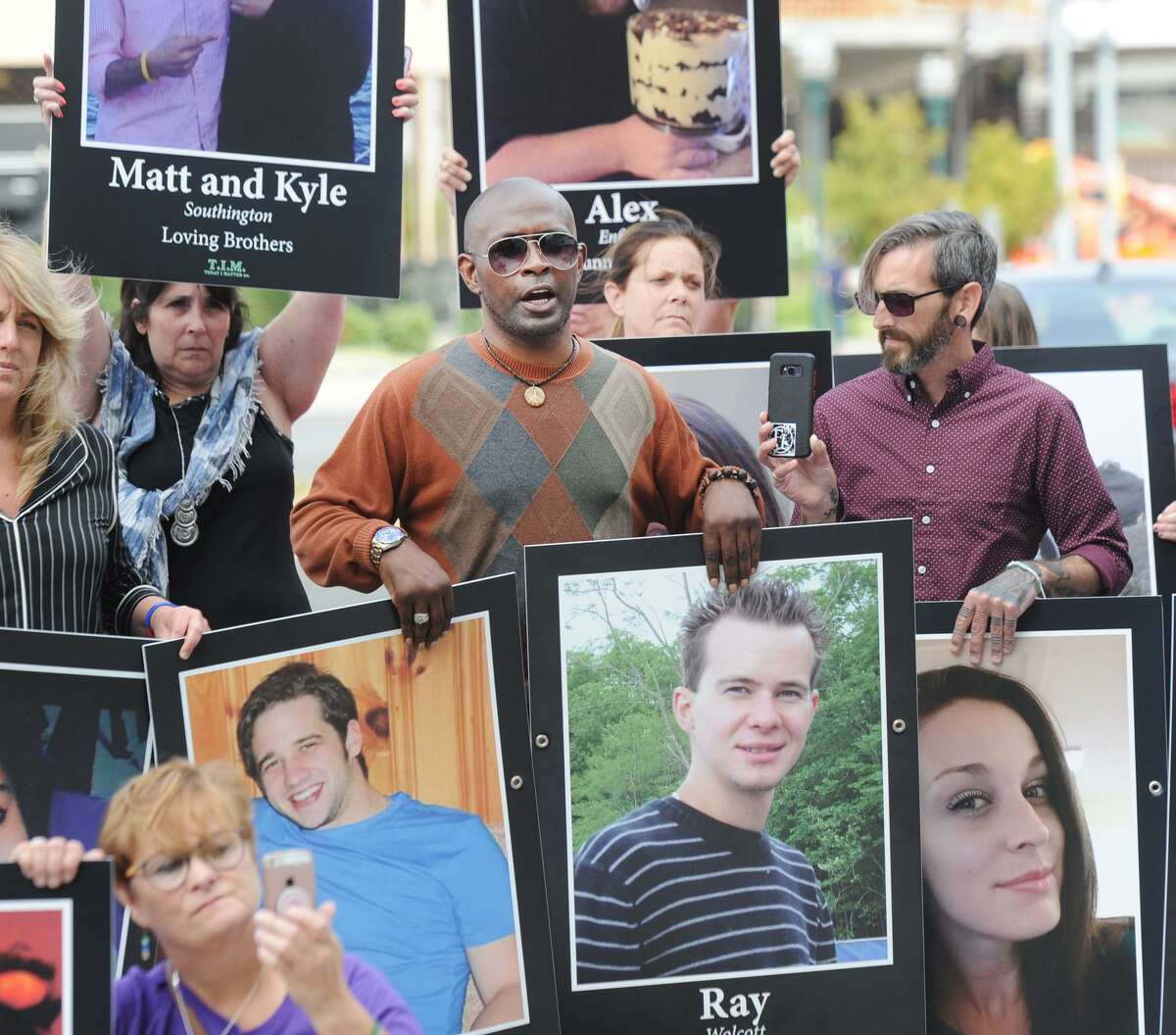 On International Overdose Awareness Day, demonstrators assembled to protest outside Purdue Pharma's headquarters in Stamford last August.