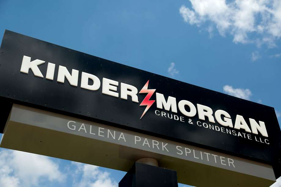 Kinder Morgan displays its logo at a facility in Galena Park.  Photo: Billy Smith II, Chronicle