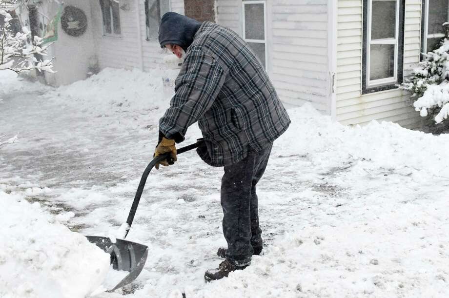 Jay Barrett shovels his driveway on Wednesday, Jan. 9, 2019 in Grafton, N.Y. (Phoebe Sheehan/Times Union) Photo: Phoebe Sheehan, Albany Times Union