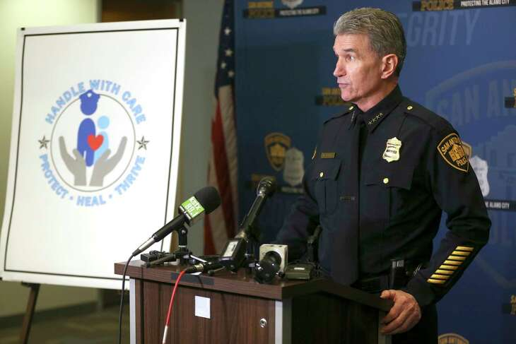 San Antonio Police Chief William McManus speaks on Jan. 9, 2019, about Handle With Care, a program that has police officers notify educators whne a child at their school might have witnessed a traumatic event. As concerns mount about more family violence in San Antonio, officials say they are increasingly using the year-old program.