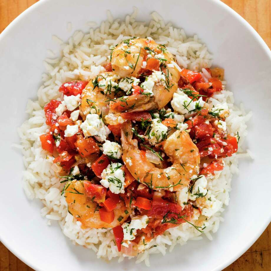"Greek-Style Shrimp with Tomatoes and Feta. This recipe appears in the cookbook ""Complete Mediterranean."" (Daniel J. van Ackere/America's Test Kitchen via AP) Photo: Daniel J. Van Ackere / 2016, Boston Common Press, DBA America's Test Kitchen. All Right"