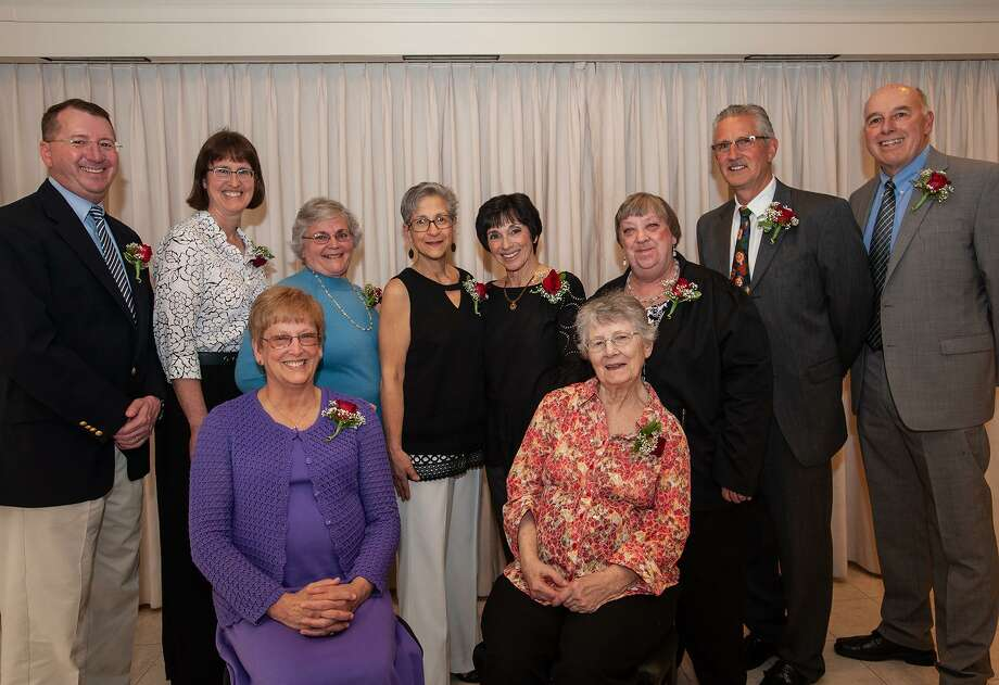 At the 21st annual Induction Dinner on April 26, 2018, the following people were inducted into the Branford Education Hall of Fame: seated, Patricia Dickinson, left, and Mary (Salvatore) Pettinato; standing from left, David Gruendel, Malaine Trecoske, Lillian Fike, Maria Ogren, Mildred Frumento, Sharon Dixon, Robin Goeler and David Martens Photo: Contributed File Photo /