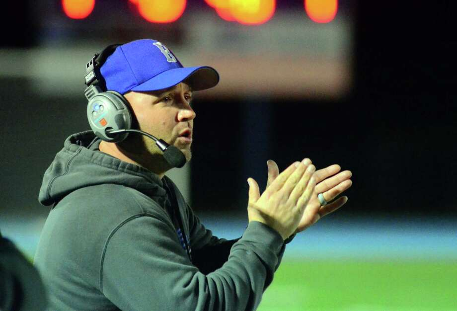Bunnell Head Coach: Sean Mignone during high school football action against against Masuk in Stratford, Conn., on Friday Oct. 19, 2018. Photo: Christian Abraham / Hearst Connecticut Media / Connecticut Post