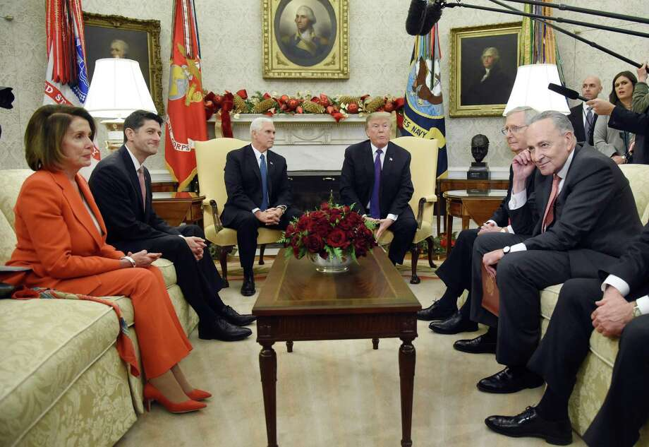 Senate Republicans have ceded power to some in this room — House Speaker Nancy Pelosi, left, Senate Majority Leader Mitch McConnell, second from right, Senate Minority Leader Chuck Schumer, right, and President Donald Trump. They can take it back. Photo: Olivier Douliery / Abaca Press / Abaca Press