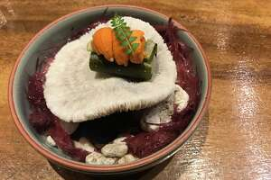 Photo of a meal prepared at Gaggan in Bangkok, Thailand on Dec. 11, 2018. Gaggan is a Michelin-starred, World's Best restaurant helmed by Gaggan Anand.