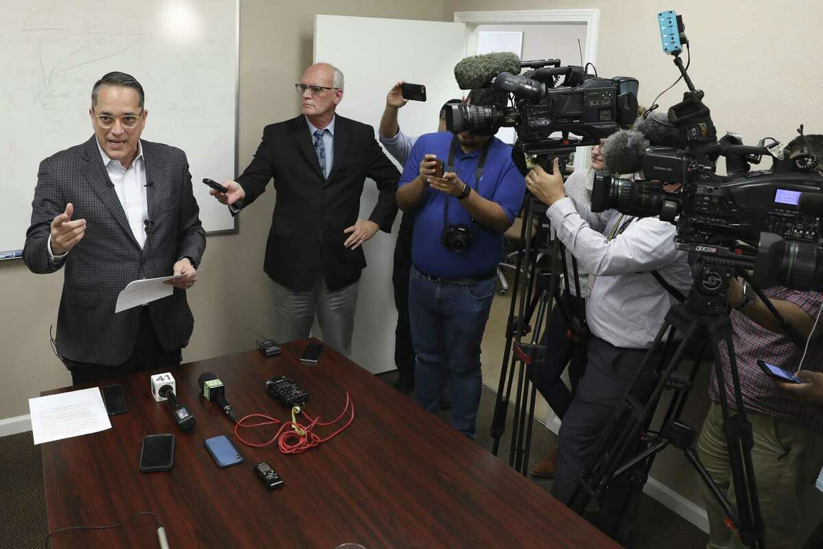 """San Antonio City Council District 6 Greg Brockhouse answers questions during a press conference he called to denounce leaks from the City Manager's office, Tuesday, Jan. 8, 2019. According to Brockhouse, City Manager Sheryl Scullery leaked a personnel report on San Antonio firefighter Dereck Hillyer. The report was leaked to the Rivard Report. Hillyer, 57, is one of 13 candidates who applied to finish out the unexpired term of freshman Councilman William ?""""Cruz?"""" Shaw, who resigned to take a judicial position at the Bexar County courthouse. Hillyer, a member of the San Antonio Professional Firefighters Association, is the only candidate who?'s been employed by the city."""
