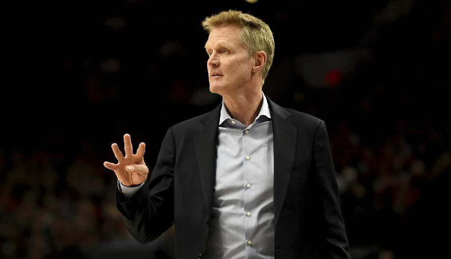 Golden State Warriors head coach Steve Kerr signals to this team during the first half of an NBA basketball game against the Portland Trail Blazers in Portland, Ore., Saturday, Dec. 29, 2018. (AP Photo/Steve Dykes) Photo: Steve Dykes / Associated Press