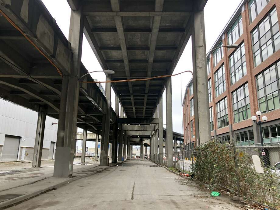 The underside of the Alaskan Way Viaduct is seen on January 9, 2019, just days before the elevated highway is set to close permanently ahead of the opening of the new state Route 99 tunnel. Click through for some answers to frequently asked questions about the viaduct closure. Photo: Daniel DeMay / SeattlePI