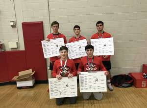 The Warde wrestling team won its own tournament, the 2019 Warde Invitational, besting a 19-team field. Front row: Will Ebert, Cole Shaughnessy. Back row: Hunter Rasmussen, Noah Zuckerman, Joe Gjinaj.