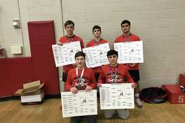 The Warde wrestling team won its own tournament, the 2019 Warde Invitational, besting a 19-team field. Front row: Will Ebert, Cole Shaughnessy. Back row: Hunter Rasmussen, Noah Zuckerman, Joe Gjinaj.