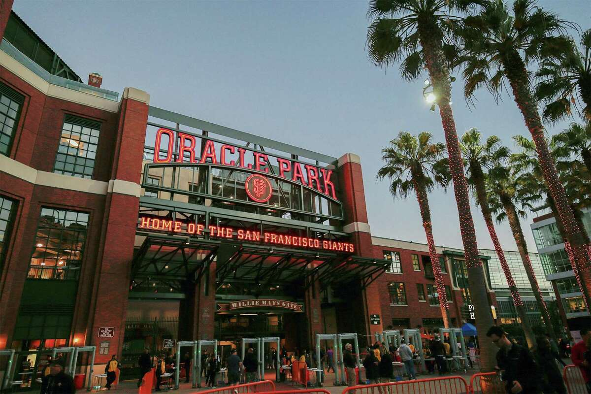 A rendering provided by the Giants shows how the San Francisco ballpark will look with the new Oracle name.