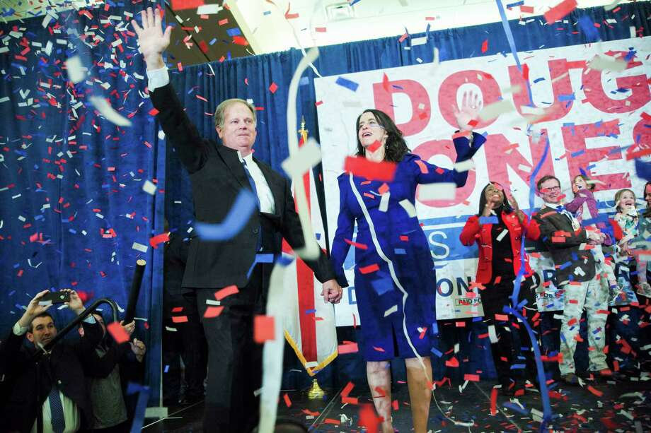 Doug Jones, the Democratic candidate in a special Senate race, celebrates his victory in Birmingham, Ala., Dec. 12, 2017. The discovery of Dry Alabama, the second so-called false flag operation by Democrats in the fiercely contested Alabama race, underscores how dirty tricks on social media are creeping into American politics. (Bob Miller/The New York Times) Photo: BOB MILLER / NYTNS