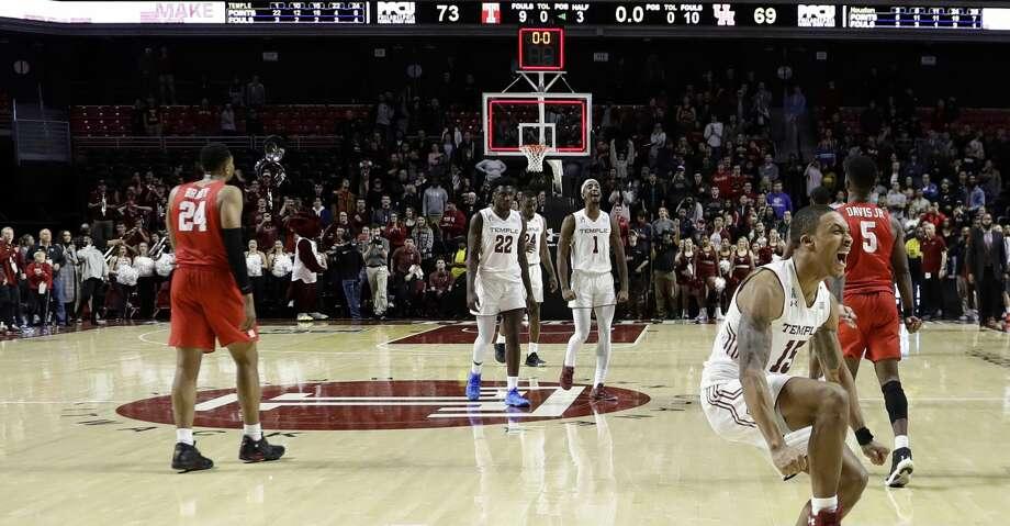 Temple's Nate Pierre-Louis (15) celebrates after Temple won an NCAA college basketball game against Houston, 73-69, Wednesday, Jan. 9, 2019, in Philadelphia. (AP Photo/Matt Slocum) Photo: Matt Slocum/Associated Press