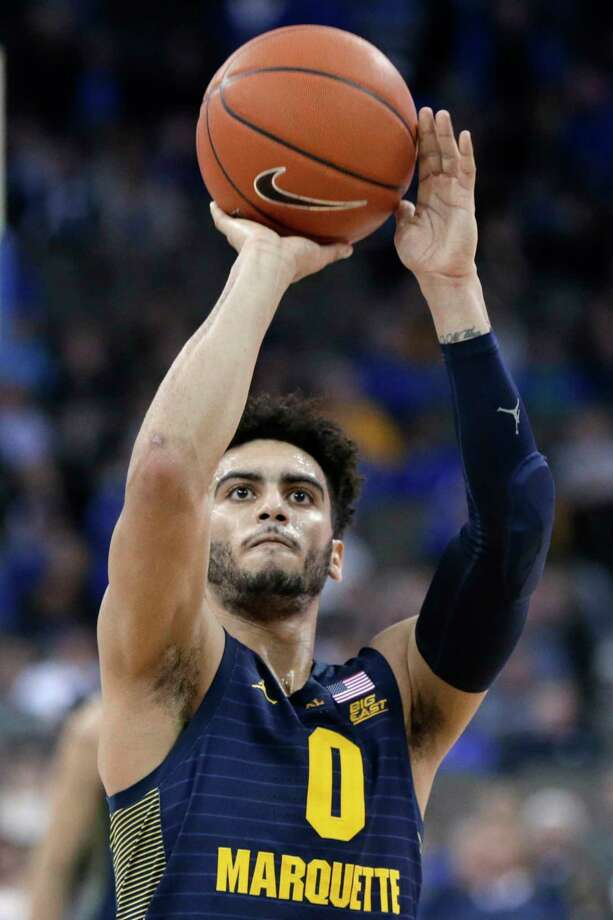 Marquette's Markus Howard shoots a free throw during overtime of the team's NCAA college basketball game against Creighton in Omaha, Neb., Wednesday, Jan. 9, 2019. Howard scored 53 points as Marquette won 106-104. (AP Photo/Nati Harnik) Photo: Nati Harnik / Copyright 2019 The Associated Press. All rights reserved