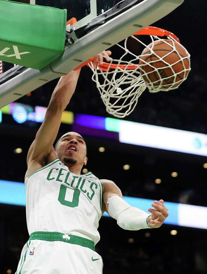BOSTON, MASSACHUSETTS - JANUARY 09: Jayson Tatum #0 of the Boston Celtics dunks during the second half of the game against the Indiana Pacers at TD Garden on January 09, 2019 in Boston, Massachusetts. The Celtics defeat the Pacers 135-108.  NOTE TO USER: User expressly acknowledges and agrees that, by downloading and or using this photograph, User is consenting to the terms and conditions of the Getty Images License Agreement. (Photo by Maddie Meyer/Getty Images) Photo: Maddie Meyer / 2019 Getty Images