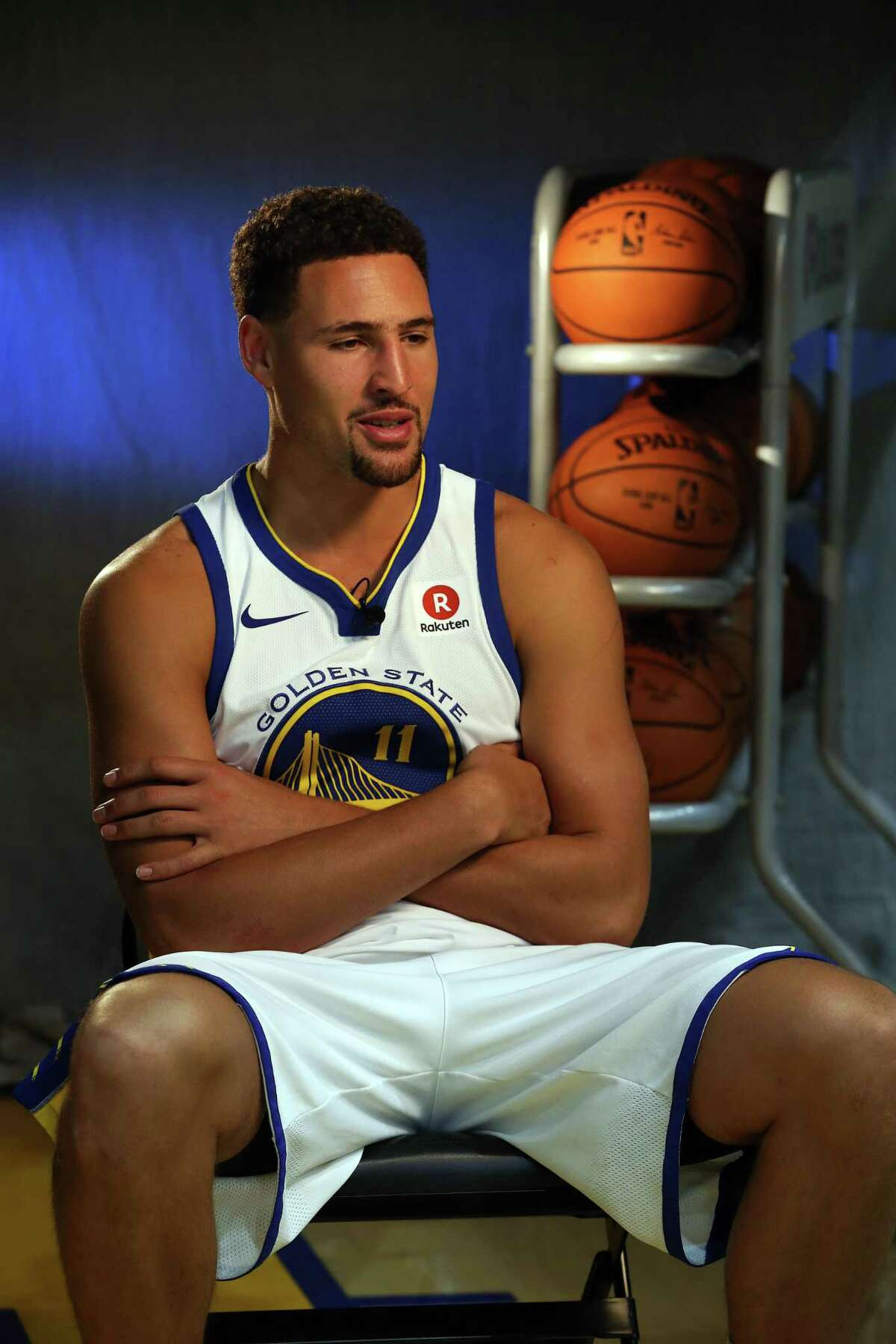 Klay Thompson appears at the Golden State Warriors media day on Sept. 22, 2017.