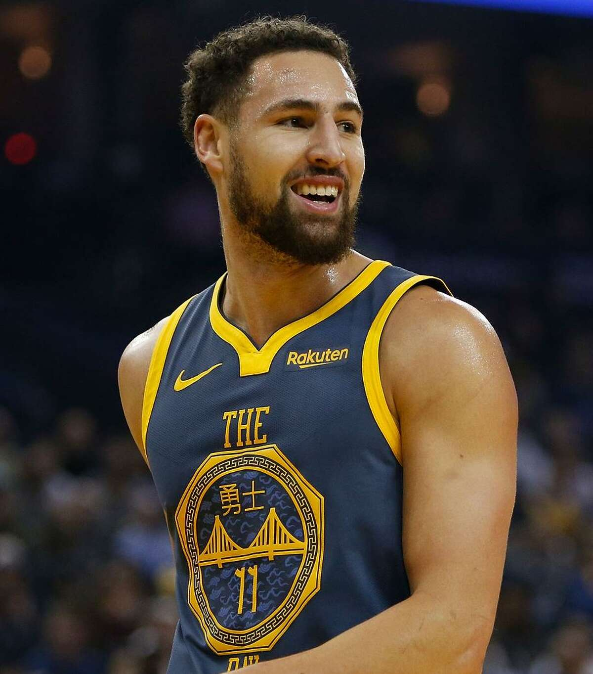 Klay Thompson #11 of the Golden State Warriors looks on during the game against the Sacramento Kings at ORACLE Arena on November 24, 2018 in Oakland, California.