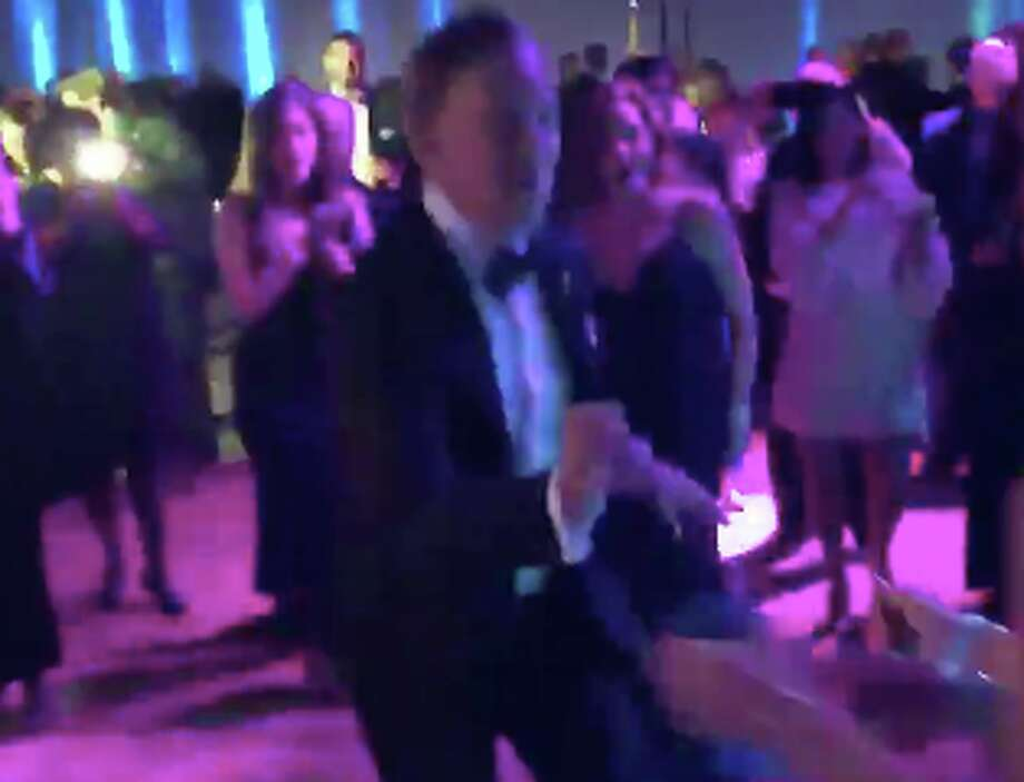 Gov. Ned Lamont cuts a rug a the inaugural ball on Wednesday, Jan. 9, 2019, in this screen grab taken from video. Photo: @MrChrisSoto