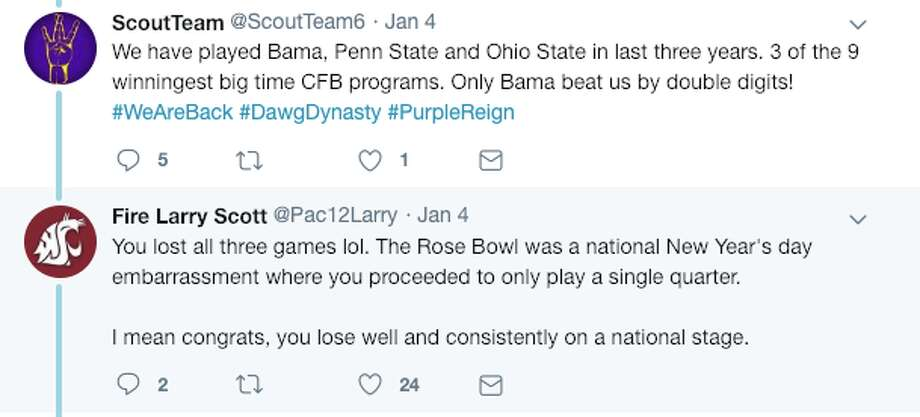 Dawgs and Cougs took to Twitter to resume the annual debate over which team is superior. Photo: Source: Twitter Screen-grab