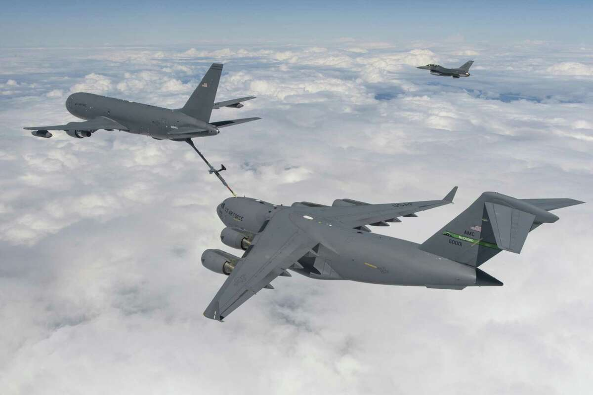 A Boeing's KC-46 tanker conducts a refueling test in July 2016 with a C-17 Globemaster III aircraft. (Photo courtesy Boeing)
