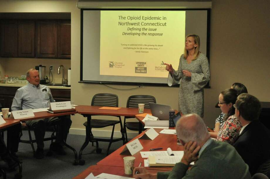 Maria Coutant Skinner, executive director of the McCall Center for Behavioral Health in Torrington, discusses addiction, opiates, and efforts to work with young people with the Northwest Hills Council of Governments in 2017. The McCall Center recently received a state grant for $171,000, which officials say will be used for infrastructure improvements and repairs. Photo: Ben Lambert / Hearst Connecticut Media /