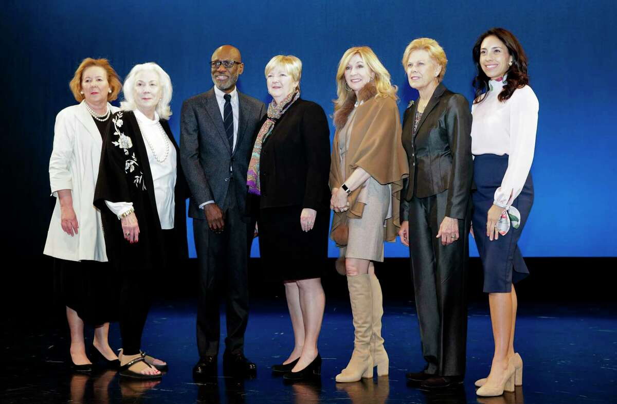 Texas Cultural Trust board members pose for a photo after the announcement of the 2019 Texas Medal of Arts honorees at the Houston Ballet on Thursday, Jan. 10, 2019. Members include Alexis Hunter, from left, Sharon Oeschger, Greg Davis, Leslie Blanton, Linda LaMantia, Pam Eilleford and Heidi Marquez Smith