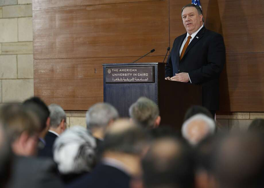 Secretary of State Mike Pompeo gives his policy speech to students at the American University Cairo. Photo: Andrew Caballero-Reynolds / Associated Press