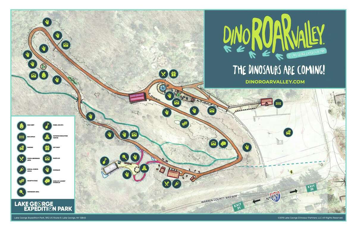 The Dino Roar Valley attraction will be added to the existing Magic Forest amusement park to form the Lake George Expedition Park along Route 9.