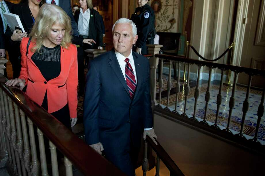 Vice President Mike Pence and counselor to the President Kellyanne Conway leave Pence's office off the Senate floor in the Capitol building, Thursday, Jan. 10, 2019, in Washington. Photo: Andrew Harnik, AP / Copyright 2019 The Associated Press. All rights reserved