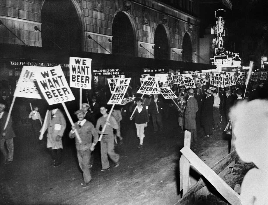 "On November 10, 1932, American workers marched in New York with signs bearing the inscription ""We Want Beer,"" demanding the end of Prohibition. Photo: Keystone-France/Gamma-Keystone Via Getty Images"